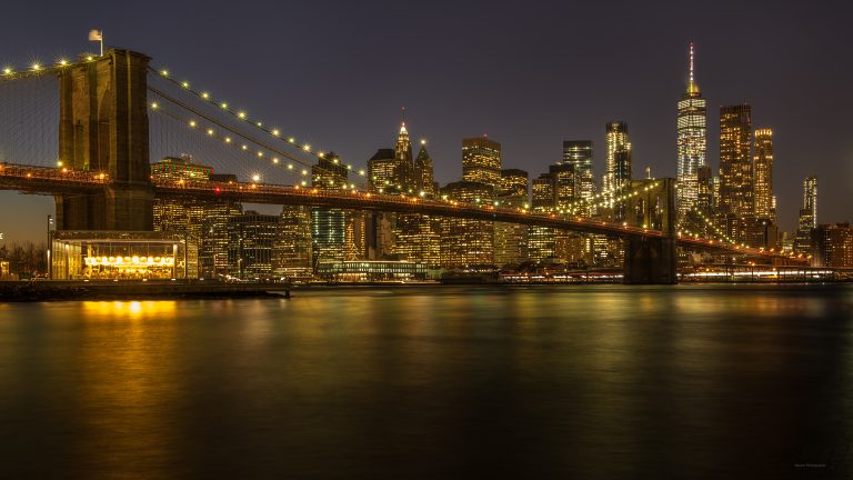 New York, Brooklyn Bridge at night , showing the One World Trade Center